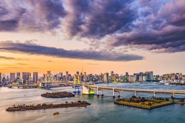 Tokyo, Japan skyline on the bay.