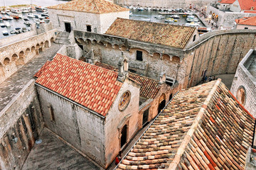 Monastery in Dubrovnik with red roof tile in Croatia