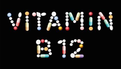 VITAMIN B12 tablets - supplement for vegetarians and vegans to prevent lack of vitamins. Illustration, black background.