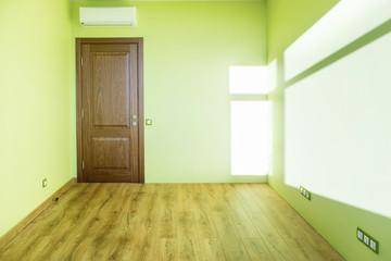 Living room interior of green empty room