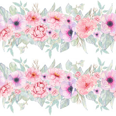 Watercolor seamless pattern hand painted with flower pink peony, anemone, leaves isolated on white background