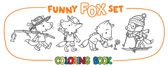 Funny fox coloring book set
