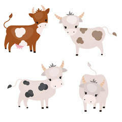 Set of cute cows