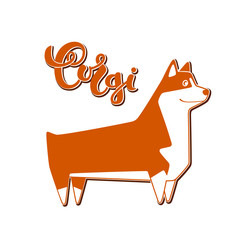Vector dog corgi with handwritten lettering