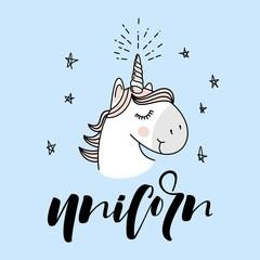 Cute Magical Unicorn Head Vector Design