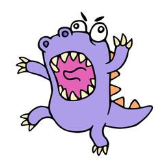 Crazy purple cartoon dinosaur. Vector illustration.