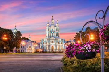 Смольный собор и петунии Smolny Cathedral and flowers of petunia Wall mural