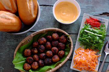 Vietnamese street food, banh mi thit nuong