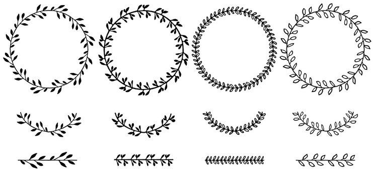 Set of doodle floral and leaf circle frames.illustration vector