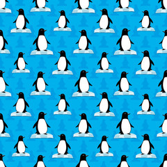 Seamless background with penguins.