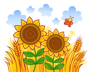 Couple of sunflowers on a background of wheat. Vector illustration in cartoon style.