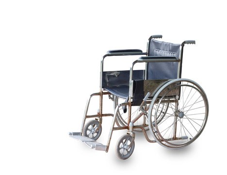 old wheelchair isolated on white background with clipping path.