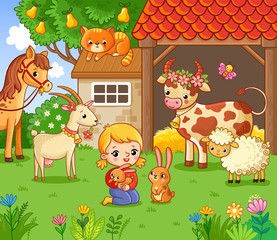 The girl pities the rabbit on the farm with the animals. Vector illustration in cartoon style with pets.