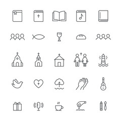 Church and Christian Community Flat Outline Icons. Vector Set
