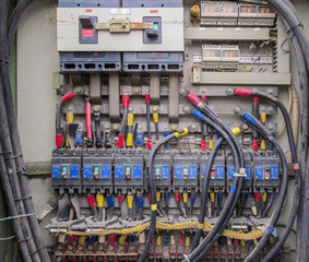 Circuit breaker and copper busbar have a lot of dust which wiring in power supply distribution panel