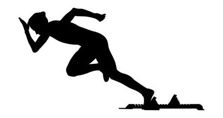 explosive start woman runner sprinter from starting blocks