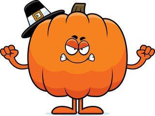 Angry Cartoon Pumpkin Pilgrim
