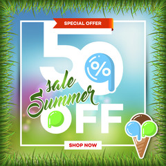 Summer sale background with tropical palm leaves and ice-cream_14