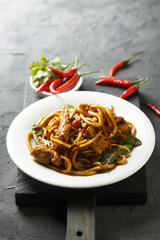 Chinese noodles with chicken and vegetables