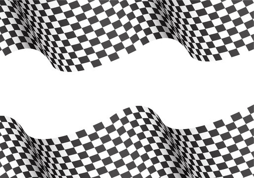 Checkered wave on white blank space for text place design for sport race championship winner background vector illustration.