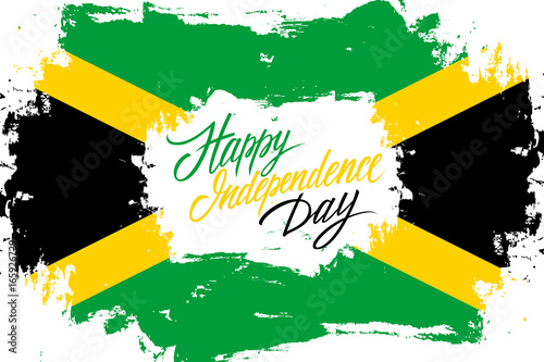 Jamaica Happy Independence Day Greeting Card With Jamaican Flag - Jamaica independence day