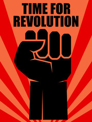 Fist of revolution. Human hand up.Concept of revolution