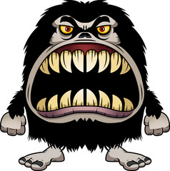 Angry Cartoon Hairy Monster