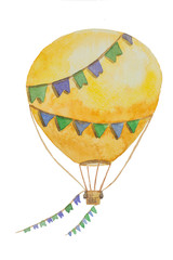 A large air balloon with flags on a string for travel painted in watercolor