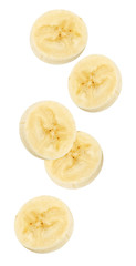 Isolated flying banana. Peeled falling banana slices isolated on white, with clipping path