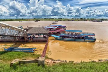 LAKE TONLE SAP, COMBODIA - Chong Knies Village, Tonle Sap Lake, the largest freshwater lake in Southeast Asia