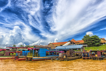 LAKE TONLE SAP, COMBODIA - Chong Knies Village, Tonle Sap Lake, the largest freshwater lake in Southeast Asia