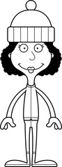 Cartoon Smiling Winter Woman