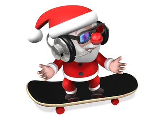 santa excited dancing on the board,3d