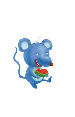 Cartoon Mouse Eating watermelon