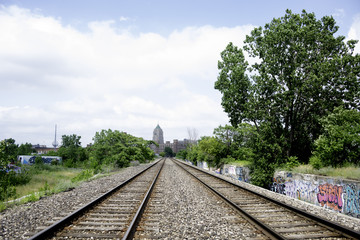 Railroad Tracks in Detroit, Michigan.