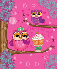 a group of owls on a pink background