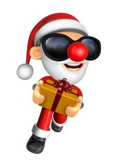 The 3D Santa Mascot holding a big Gift Box. 3D Christmas Character Design Series.