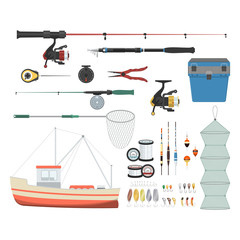 Vector illustrations set of equipment for fishing