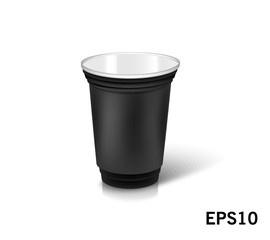 one empty disposable plastic cup for party.  Vector illustration black color dishes