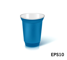 one empty disposable plastic cup for party.  Vector illustration blue color dishes
