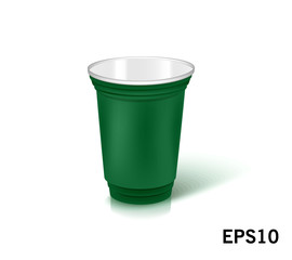 one empty disposable plastic cup for party.  Vector illustration green color dishes