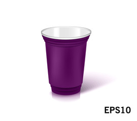 one empty disposable plastic cup for party.  Vector illustration purple color dishes