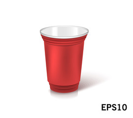 one empty disposable plastic cup for party.  Vector illustration red color dishes