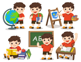Back to school. A cute student study in school , drawing a picture, reading books. Isolated vector.