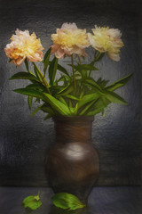 Still life with jug- bouquet peonies