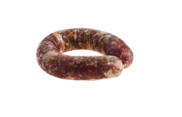 Homemade sausage on a white background
