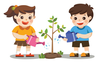 Cute kids volunteers planted and watering young trees. Save The Earth. Isolated vector