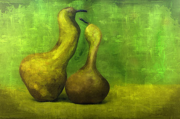 Fine art green pears