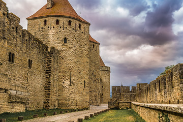 Wall Mural - Image of wall in Carcassonne fortified town in France.