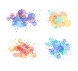 Stains and droplets vector collection. Expressive watercolor splash. Light holographic colors